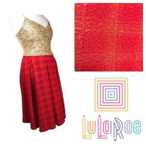 LuLaRoe Red and Yellow Block Pattern Madison Skirt